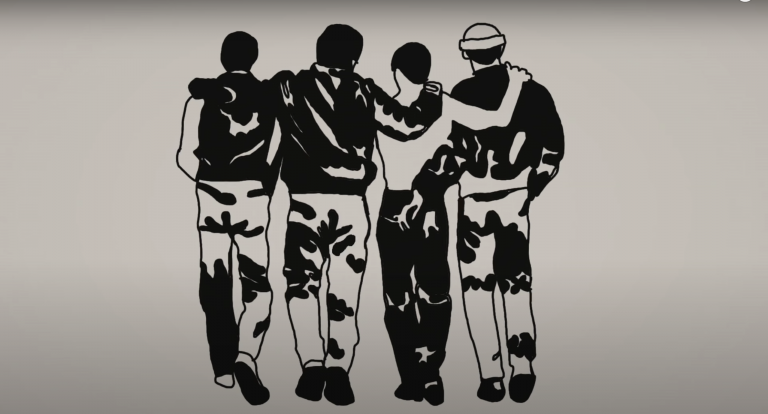 drawing of the back of four guys with their arms on each others' shoulders