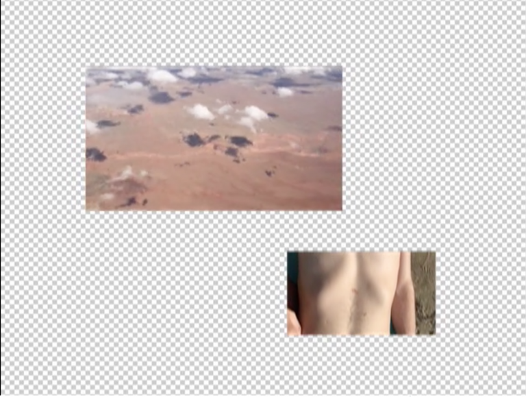 an image of a landscape from above and an image of a bare chest