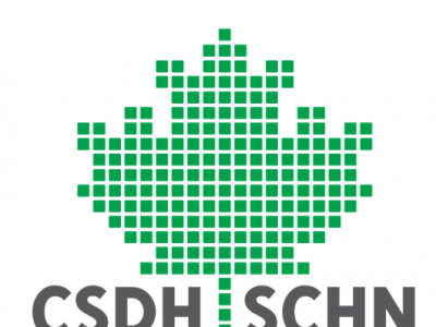 Canadian Society for Digital Humanities logo; green pixel maple leaf