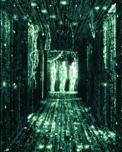 Three human figures lit up in green in the Matrix