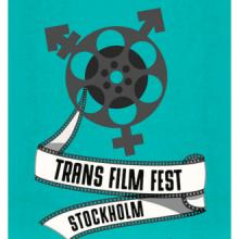 An animated trans symbol made to look like a film reel with the words Trans Film Fest Stockholm underneath