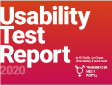 pink and orange with white text: Usability Test Report 2020