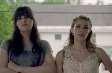 "Still image from film ""Boy Meets Girl"" (Two white girls stand outside)"